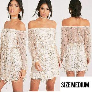 Dresses & Skirts - NWOT Suki Gold Sequins Bardot Dress. Med